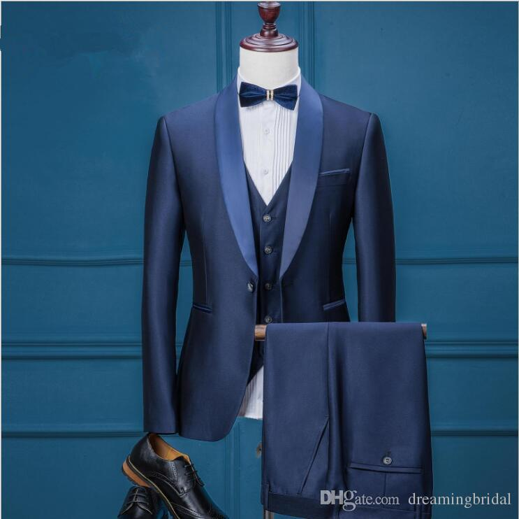 Smoking de la boda de los hombres 2017 de tres piezas traje de un botón de la solapa del mantón para hombre traje de vestidos de boda ajuste ajuste trajes de boda por encargo