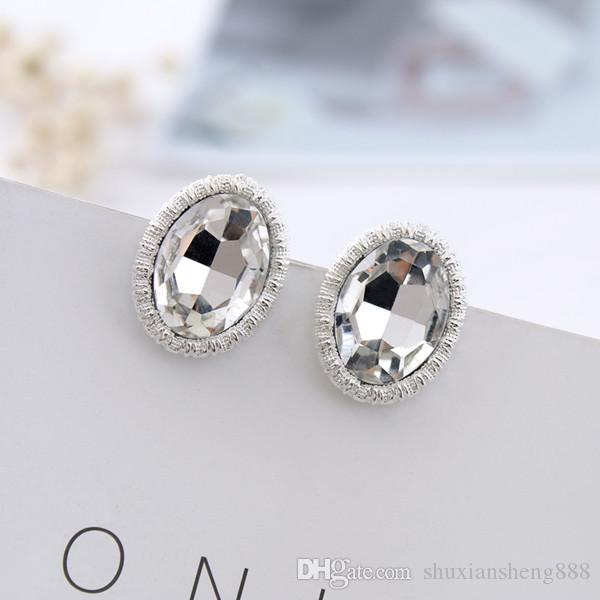 New Gold silver fashion of high-end oval glass ear clip girl gifts crystal earrings jewelry clip earings for non pierced ears