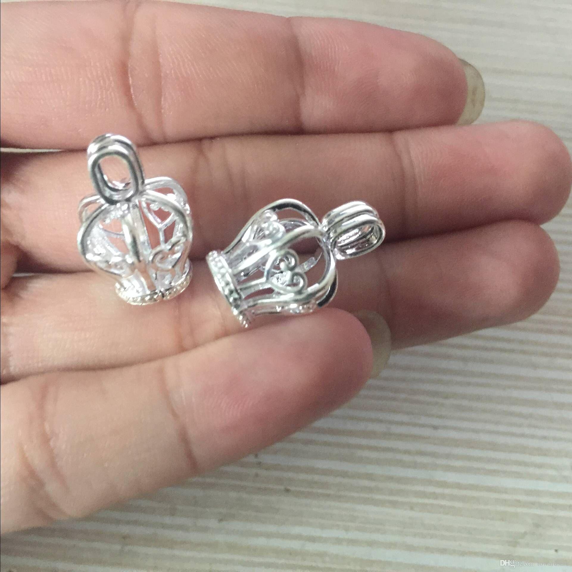 Жемчужная клетка ожерелье кулон, эфирное масло диффузор, корона обеспечивает посеребренные 10шт-плюс свой собственный жемчуг, камень делает его более привлекательным