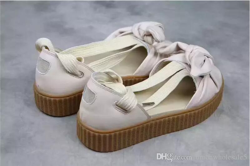 Mode d'été Femmes Chaussures confortables Fenty Bandana Diapo Bow Chaussons d'extérieur BjSGvR