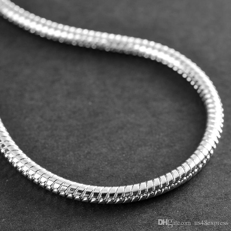 hot wholesale 3MM 925 Sterling Silver Plated Snake Chains Bracelet fit European Beads for girlfriend boyfriend wife gift