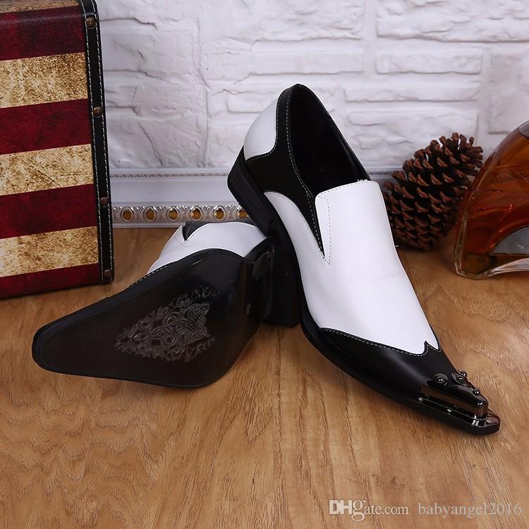 Neue Ankunft Geschäfts Formales Kleid Schuhe Männer Sapatos Mode Schwarz Weiß Spitz Echtem Leder Männer Schuhe Designer Männer Wohnungen