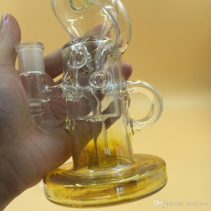 New Design Double Glass Ball Shape Silver Fumed recycler glass bong Glass Water Pipe Comes With Dome slide bowl free ship