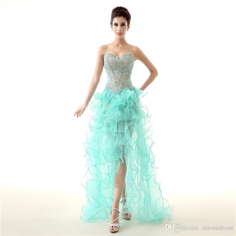 Sweetheart Lace prom dress Beaded high low prom dresses Backless Organza Short front Long Back Evening Gown