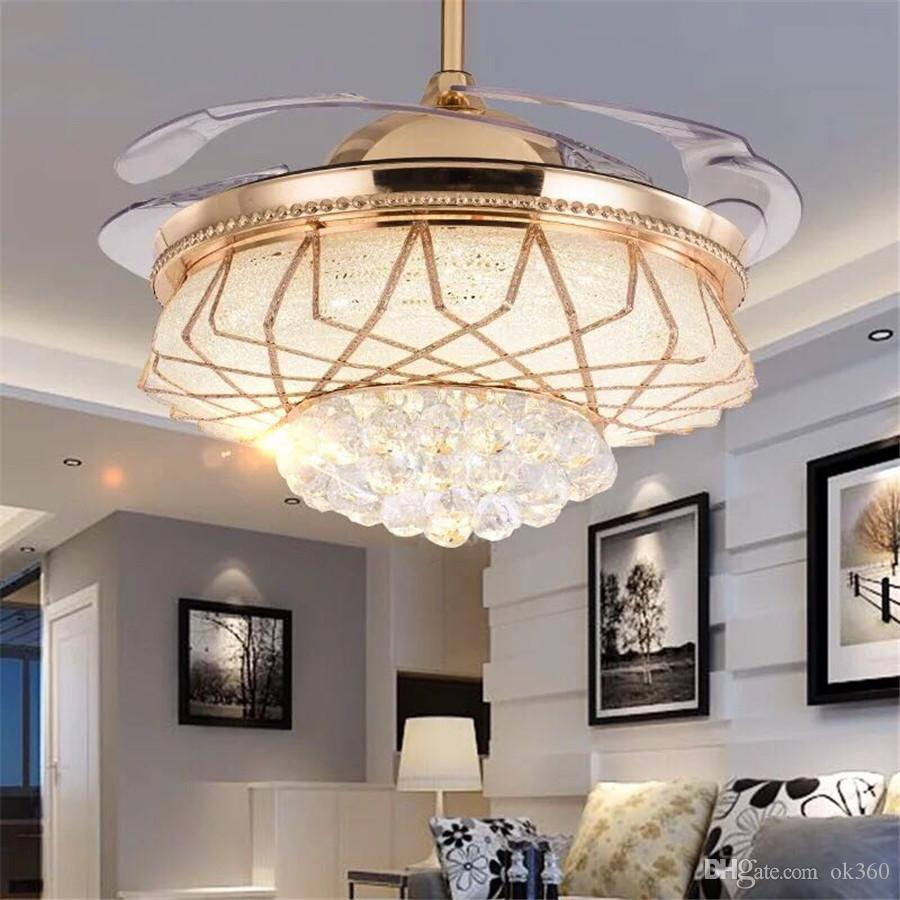 2019 modern alloy crystal led ceiling fan light invisible led light electric fan chandelier retractable belt folding pendant lamp for bedroom from ok360