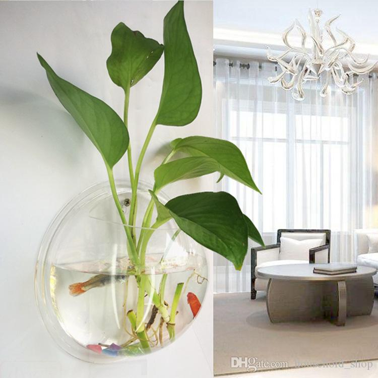 wall fish bowl hanging vase aquarium flowerpot goldfish aquatic plant oxygen production home. Black Bedroom Furniture Sets. Home Design Ideas