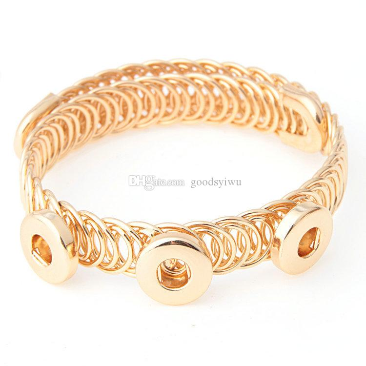 Gold Silver Direct Selling Jewelry Simple Hollow One Direction Metal snap Bracelets For Newest 12mm Metal Snap Button Bangle