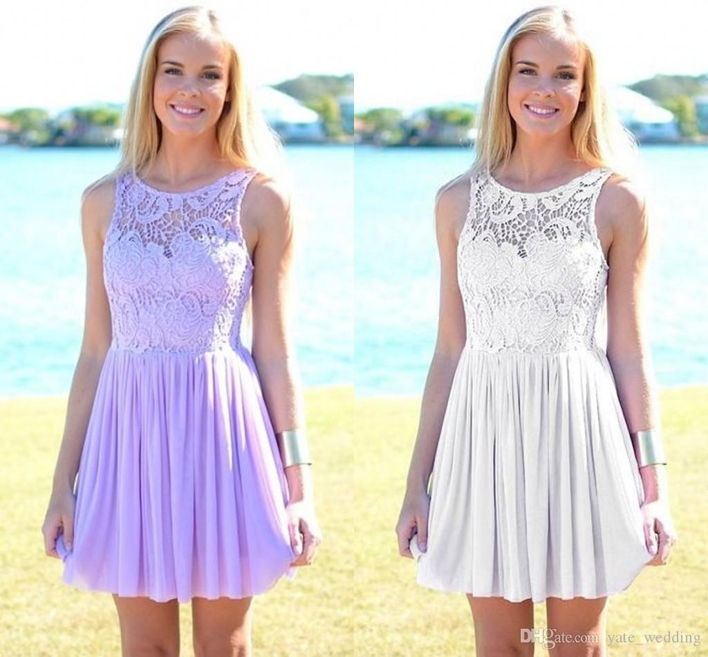 8146ef47d0753 Lavender Lace Chiffon Short Homecoming Dresses Scoop Sleeveless Silver  White Short Prom Dresses Cheap Party Dresses Form Fitting Homecoming  Dresses Formal ...