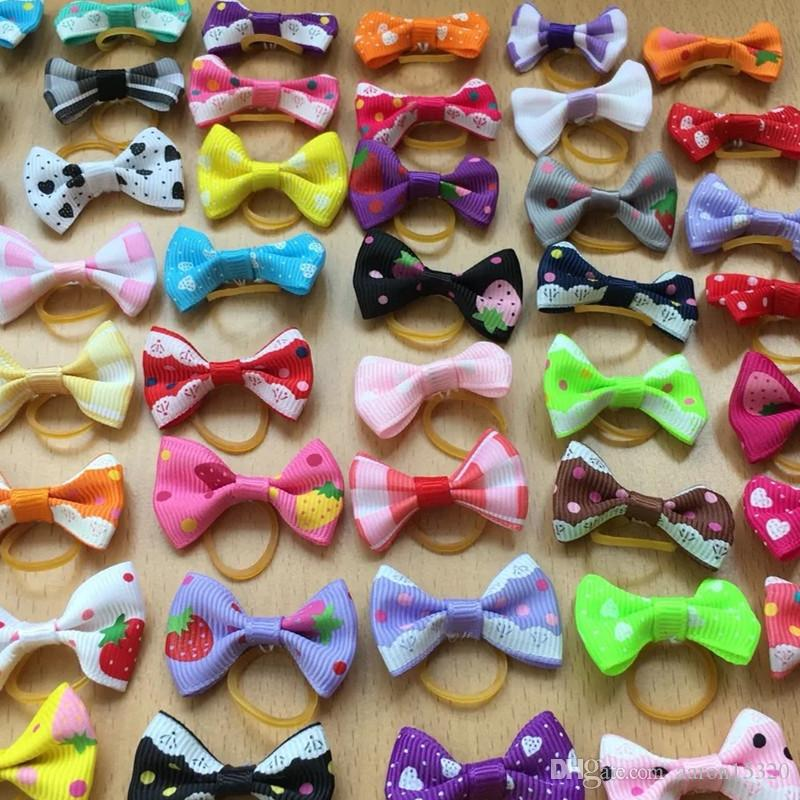 New Handmade Pet Products Dog Grooming Bows Dog Hair Accessories Pet Hair Tie Dog Bow Hairs rubber bands wholesale
