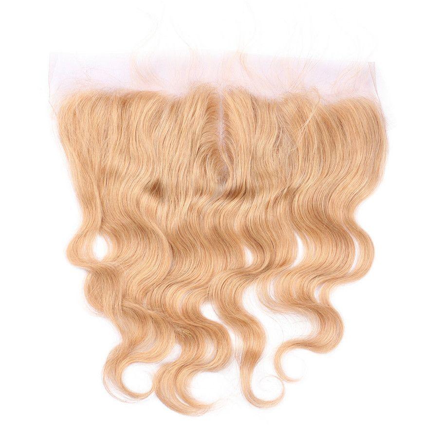 # 27 Fasci di capelli dell'onda del corpo con chiusura frontale in pizzo Honey capelli biondi tesse con chiusura frontale in pizzo Malese capelli vergini