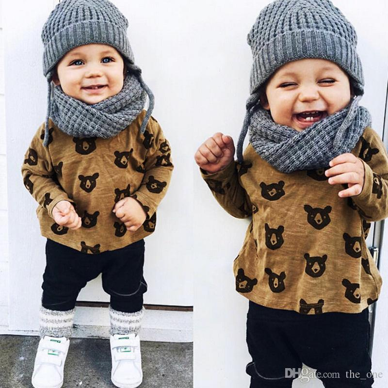 2018 children clothing sets spring baby boys suit set child set bear cartoon long sleeve shirts. Black Bedroom Furniture Sets. Home Design Ideas
