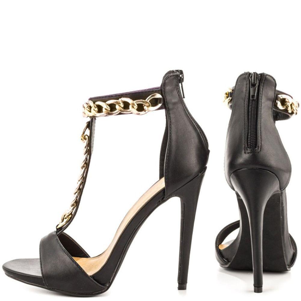 Kolnoo женская мода высокий каблук T-ремень обувь золотые цепи деко партия лето весна сандалии черный XD290