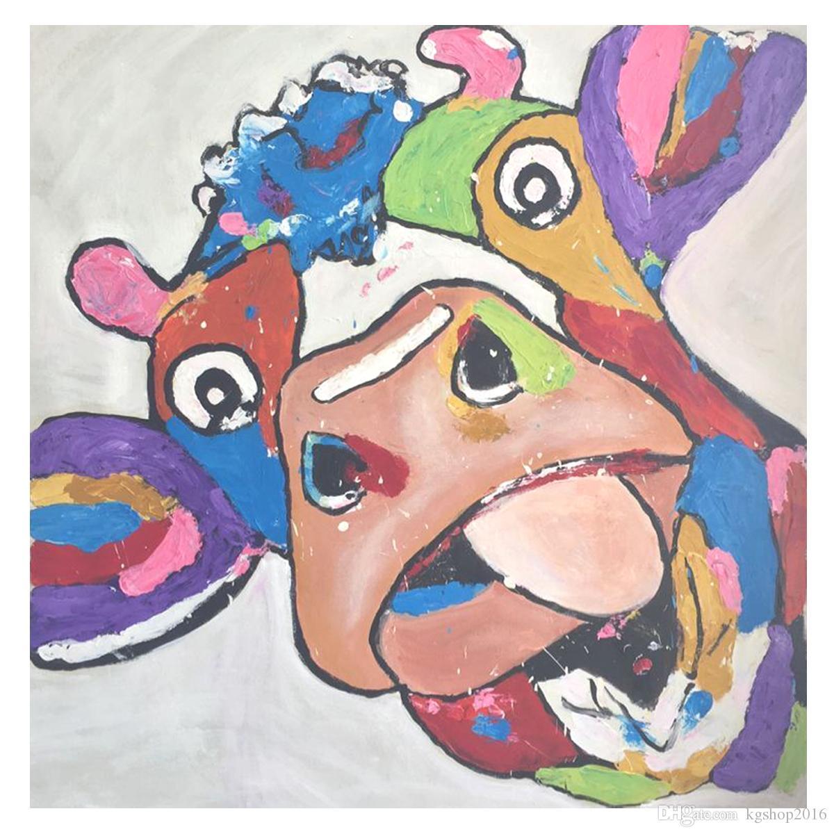 Sanatçı El Yapımı Boyama Dokulu Yapıt Pop Sanat Inek Kafası Tuval Duvar Dekor Yok çerçeve 28x28 Inç Duvar Sanatı