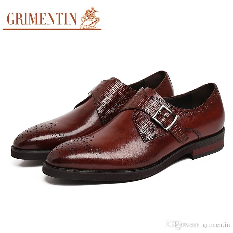 68e38f3b7 GRIMENTIN Hot Sale Italian Fashion Formal Mens Dress Shoes Black Brown Men  Oxford Shoes Genuine Leather Buckle Wedding Business Male Shoes Best Shoes  Stacy ...