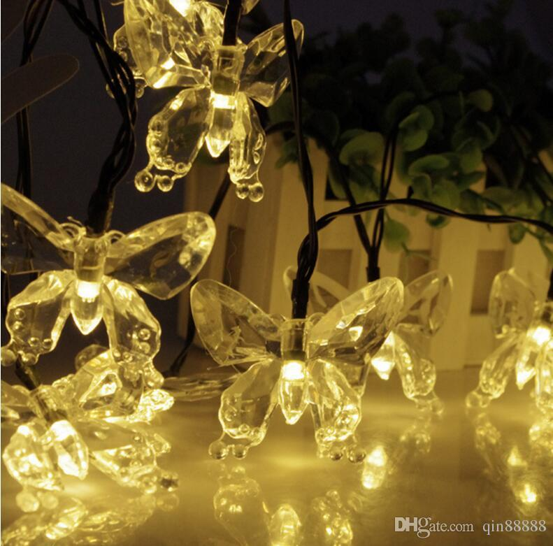 christmas lights Outdoor 20 LED Led Strip Solar-Powered Fairy Lights Butterfly Garland Light Holiday Decoration Garden Lamp