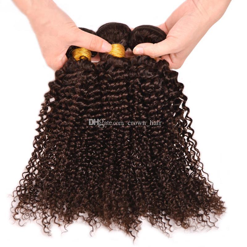 Индийские Темно-коричневые Кудрявые Вьющиеся Волосы Девственницы 3 Пучки 10-30 дюймов Цвет # 4 Шоколадно-Коричневые Кудрявые Вьющиеся Пучки Волос Для Чернокожей