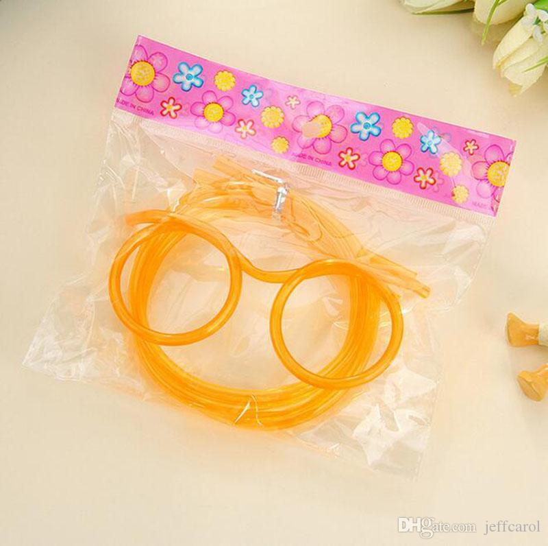 Hot Crazy DIY straw Creative Fun Funny Soft Glasses Straw Unique Flexible Drinking Tube Kids Party Accessories