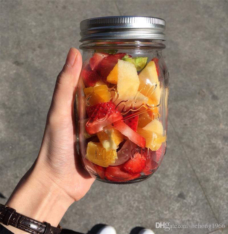 Fancy Mason Jar Glass Beverage Bottle Fruit Jam Pot Sealed Container Vegetable Salad Tin Transparent Glass With Cover 1 45hc A R