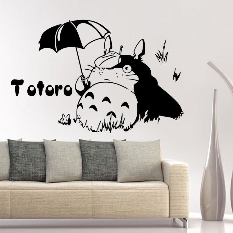 Hot Money Umbrella Totoro Totoro Wall Stickers Children Room Decorative Stickers  Stickers Can Be Removed Wall Mural Decals Cheap Wall Mural Sticker From ...