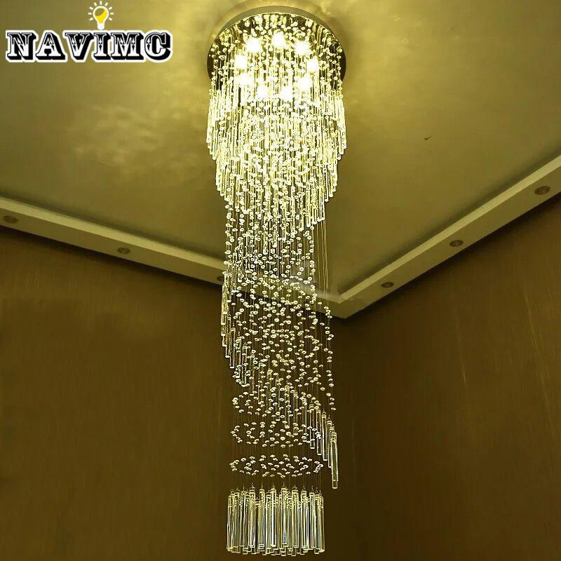 Modern large crystal chandelier lighting for hotel hallway stairwell modern large crystal chandelier lighting for hotel hallway stairwell long stair light led hanging ceiling lmap living room lamp globe pendant light light aloadofball
