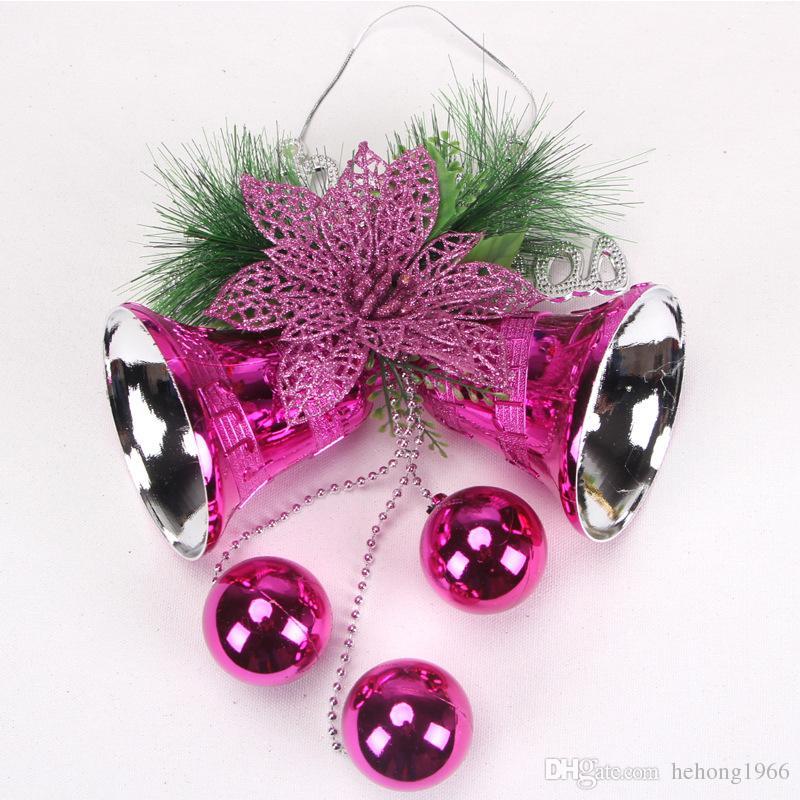 Pendentifs Arbre De Noël Décor Avec Bell Ball Pin Aiguilles Scène Props Xmas Guirlande De Fête Ornement Chaud 10mx F R