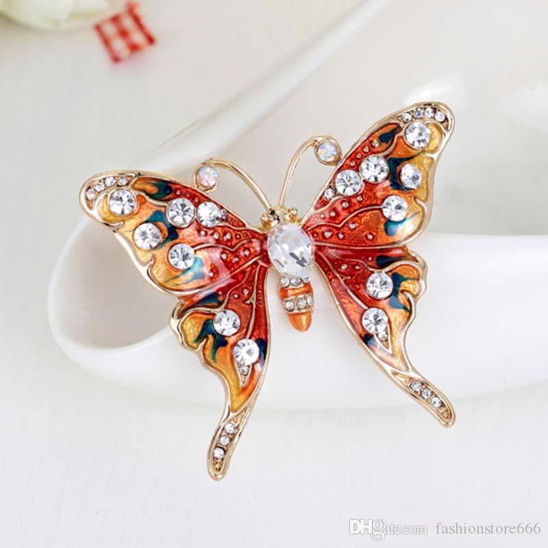 Christmas Gift Luxury Butterfly Brooch Suit Scarf Clip Women Dress Wedding Bridal Lapel Pin Party Jewelry rhinestone brooch