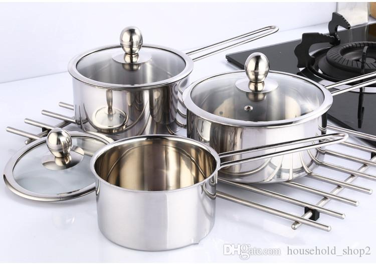 1000ml New Stainless Steel Kitchen Cooking Casserole Dutch Oven For Induction Cooker With Lid Cover with Two Handles