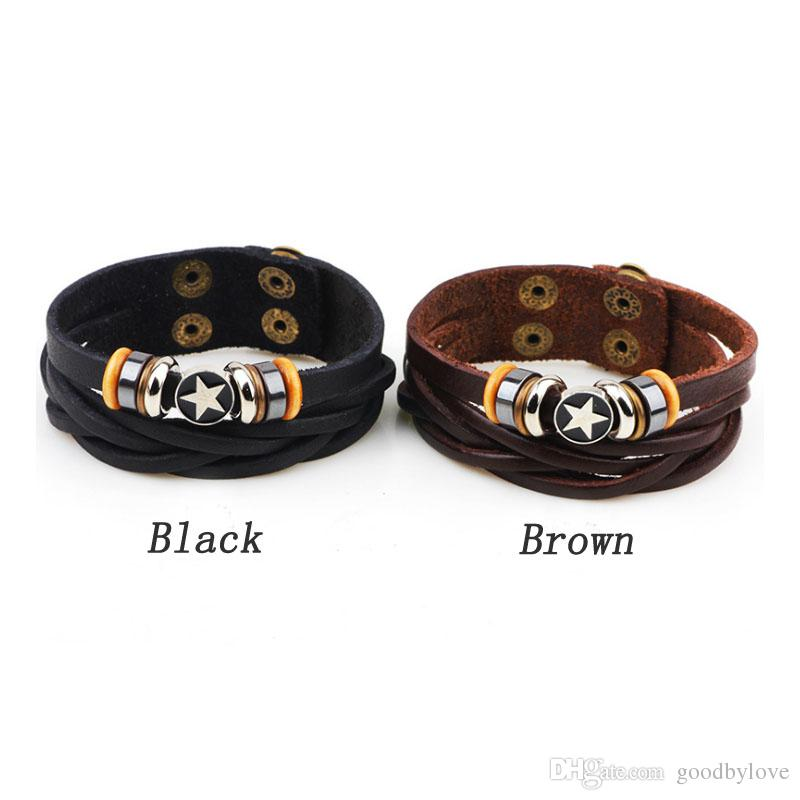 Mens gioielli unisex punk reale del cuoio genuino Brown multi strati registrabili Wristband Pentacolo braccialetti di fascino dei braccialetti Party