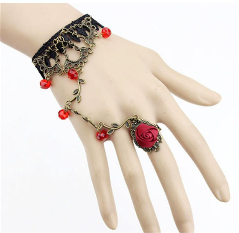 Vintage Lace Flower Bracelet Ring Two Kind Usage Merge 2in1 Conjoined Siamese Long Bracelets Integrated Chain