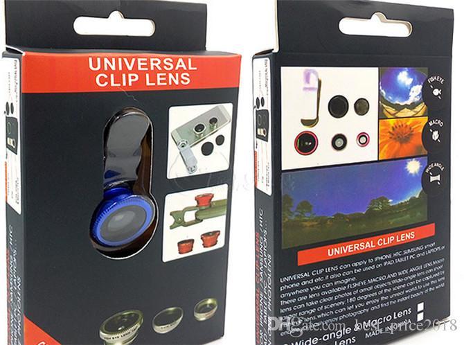 NUOVO universale 3 in 1 grandangolare Macro occhio di pesce obiettivo della fotocamera cellulari Lenti Fish Eye Lentes Smartphone microscopio