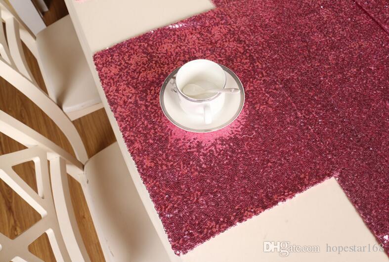28 * 40 cm Saf Lüks Pullu Masa Mat Polyester Elyaf Masa Dekorasyon Paspaslar Mutfak Aksesuarları 6 Renk Beyaz Gary Altın Pembe Mor Kırmızı