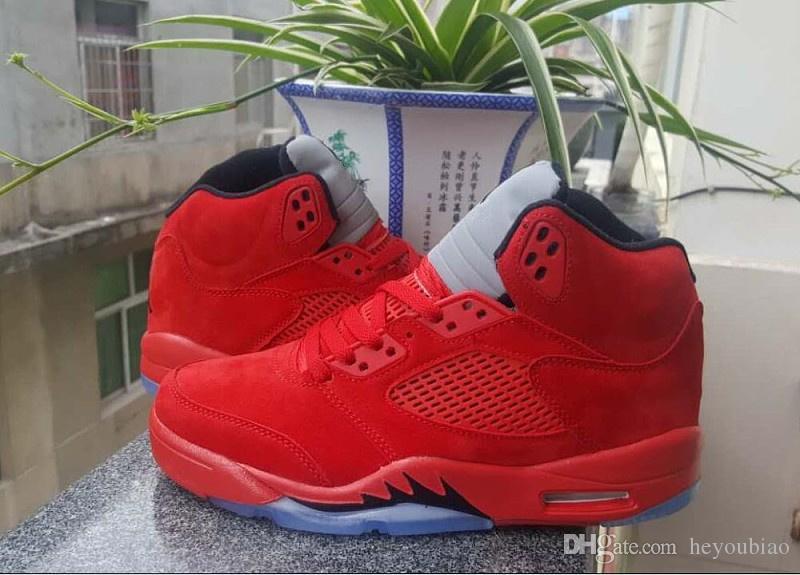 5s Men Raging Bull Rot Wildleder V 5 Basketballschuhe Damen Flight Suit University Rot / Schwarz Blau Sneaker Größe 36-47