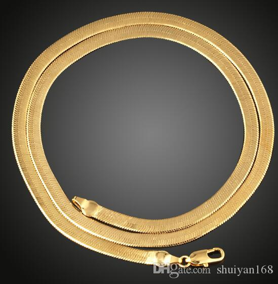 Flat Snake Chain Necklace Clavicle Necklaces DHL Jewelry Gold Plated 50CM 4MM for Men 18 k Gold Europe And America Jewelry Christmas Gift