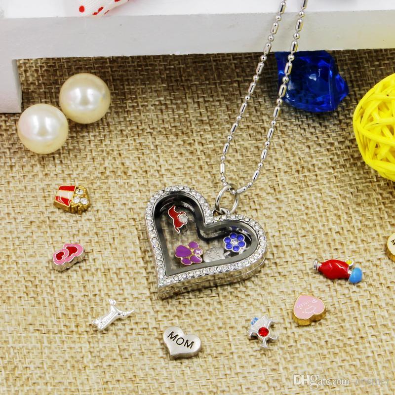 Горячий продавать новинка любовь сердце магнитный кристалл DIY плавающей памяти живой медальон кулон подарок для девочек женщин дочь с бесплатными цепями