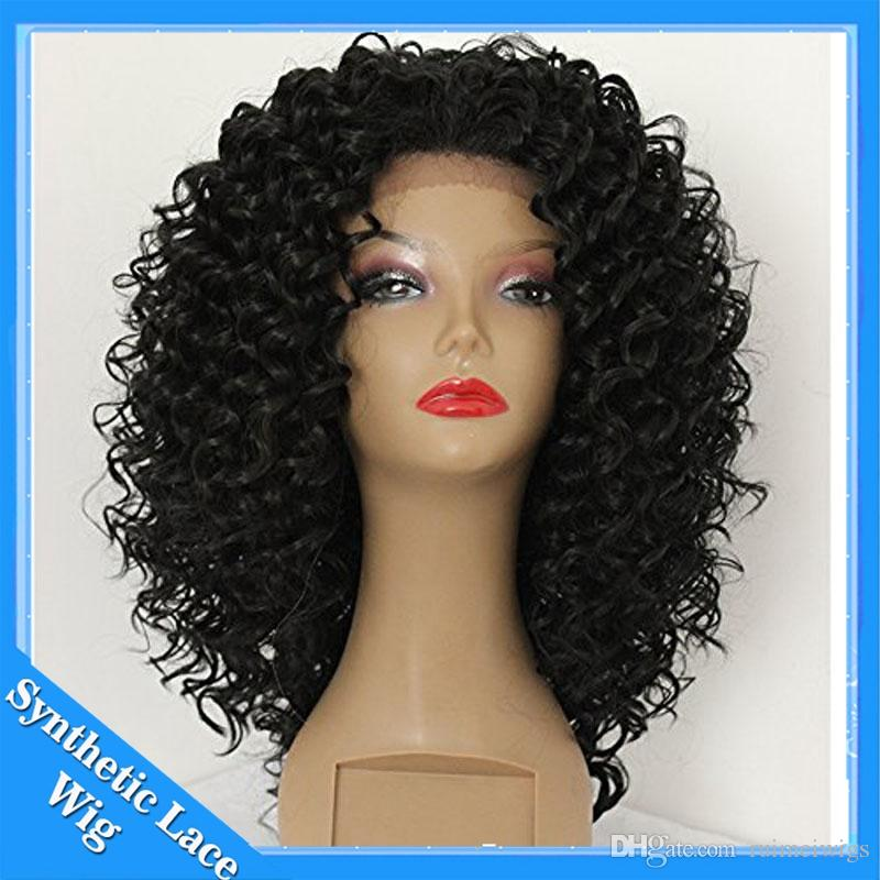 Cheap afro kinky curly synthetic lace front wig Short kinky curly heat resistant synthetic hair for black women Black and Brown Color