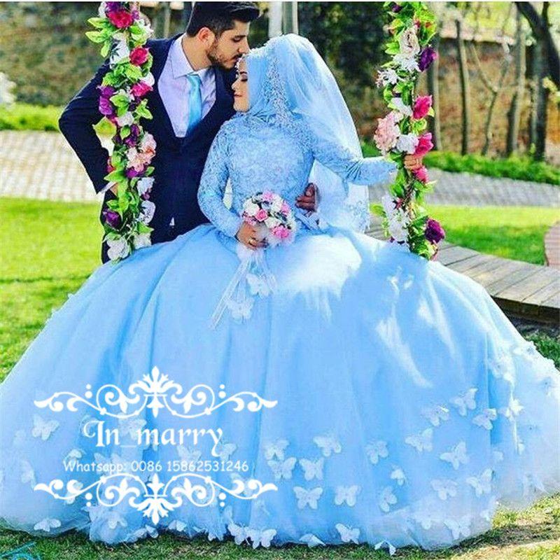 Discount Princess Hijab Muslim A Line Wedding Dresses 3d Butterfly ...