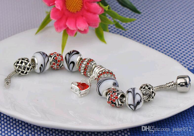 Yaratıcı Bayanlar Kristal Rhinestones Avrupa ve Amerikan El Boncuk Dize Kalp kolye DIY Charm Bilezik Takı