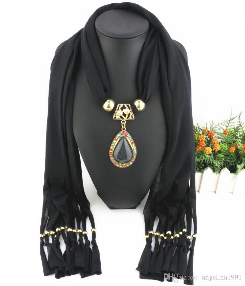 Gota de oro antiguo colgante bufandas con resina colorido rinstone joyería única granos bufanda mantón shiping libre