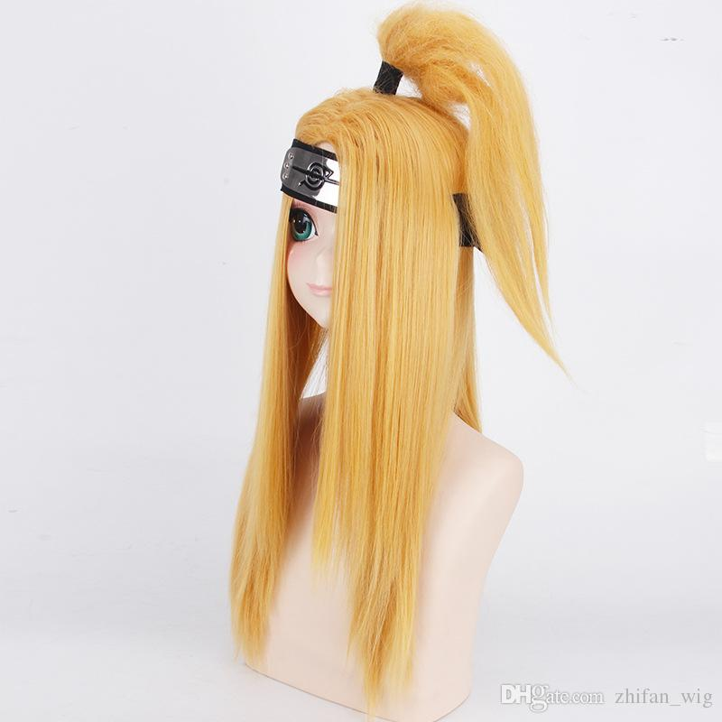 Z&F Japanese Ninja Shitachi Cosplay Anime Wig 60cm Yellow Color Long Knot Unisex Costume Halloween Black Friday