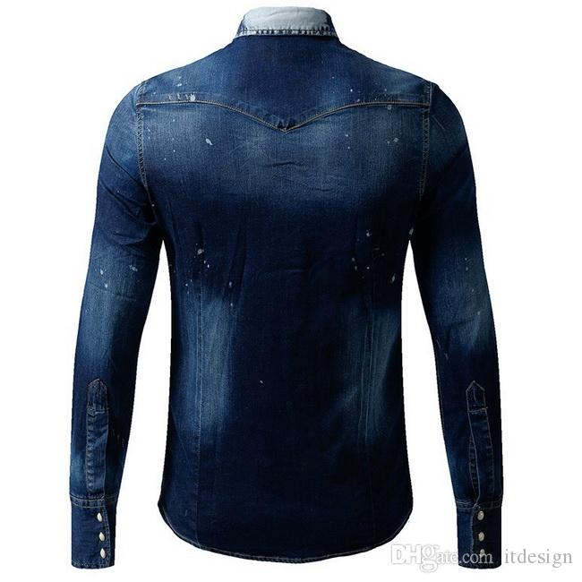 Young Man Fashion Design Denim Shirt Men Embroidery Badge Patchworks Slim Fitness Jean Shirts Plus 3XL