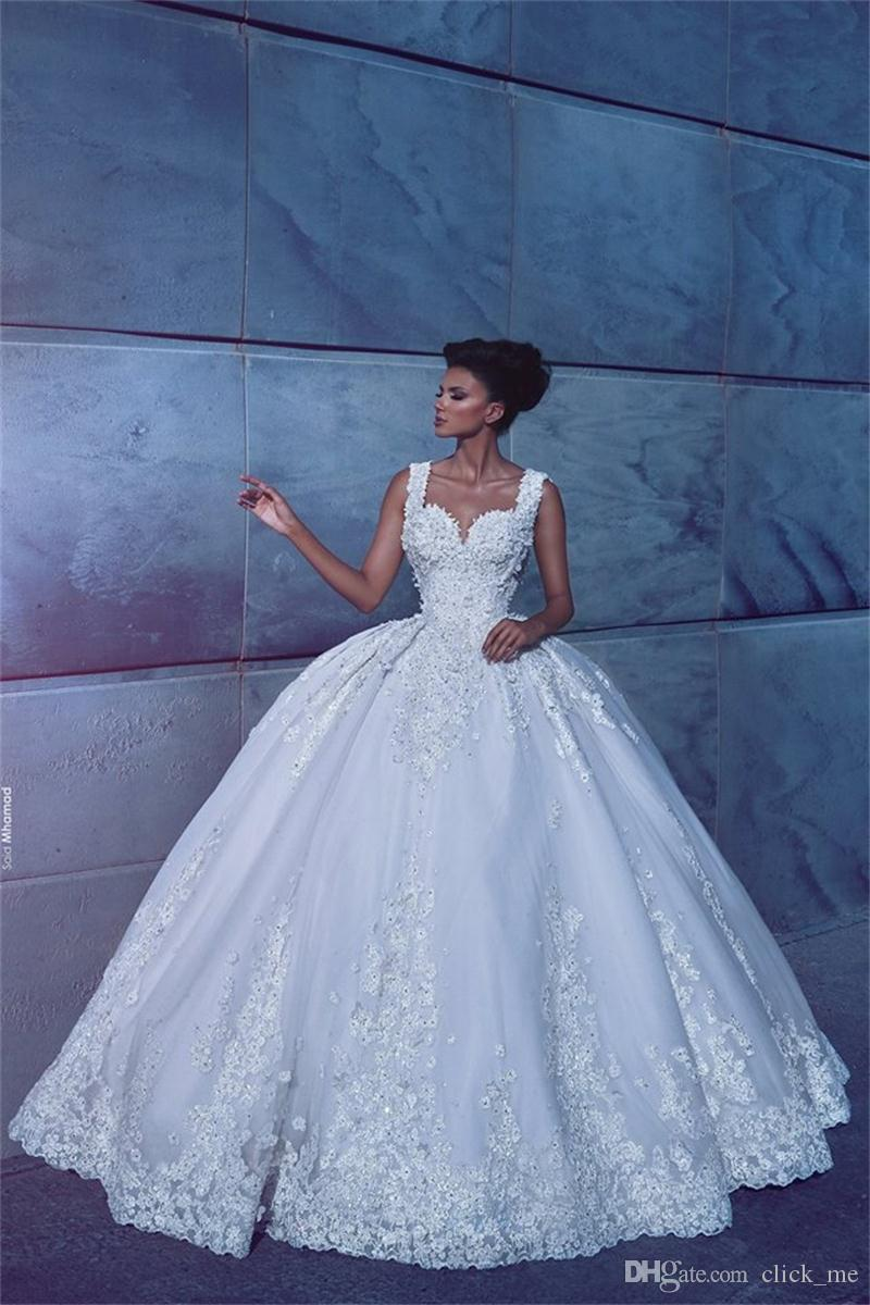 Discount Arabic Sweetheart Wedding Dresses Ball Gown Lace Appliques ...
