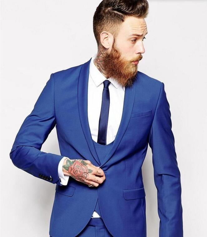 Custom Made homens ternos azul Royal homens Clássico Do Noivo Smoking Blazer Homens Prom Tux Noivo Jaqueta + Calça + Colete