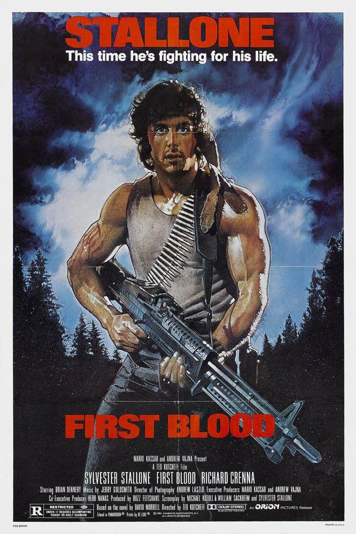 Großhandel Erster Blut Film Plakat Stallone Rambo Kunstdruck Seide ...