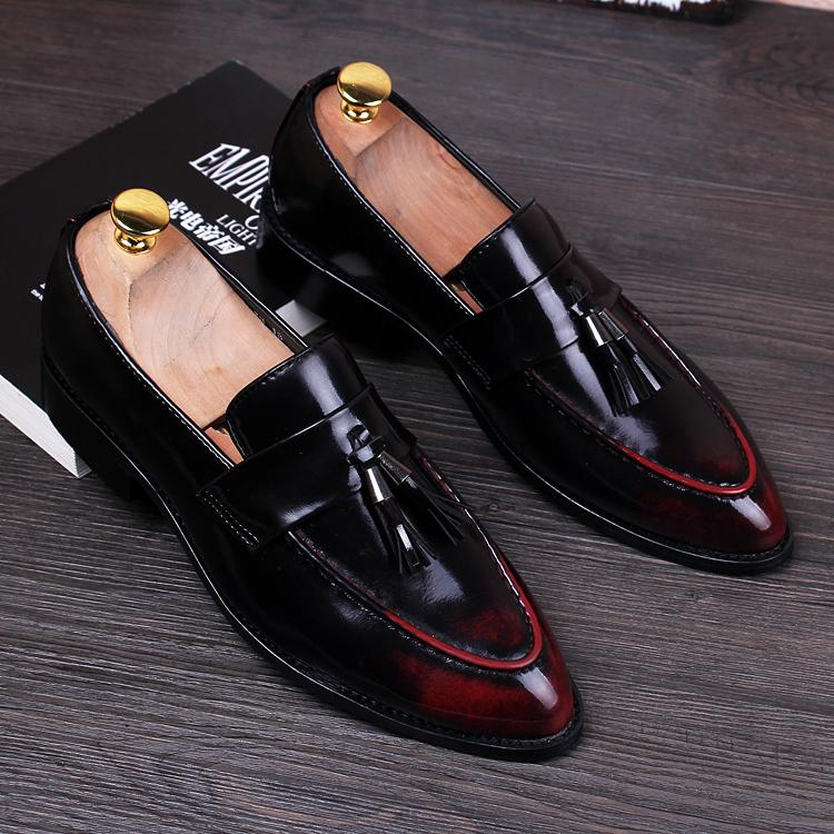 892a5c45934 British Men Pointed Toe Leather Shoes Business Men Oxfords Men Dress  Wedding Shoes Vintage Tassel Brogue Shoes Black Red Silver