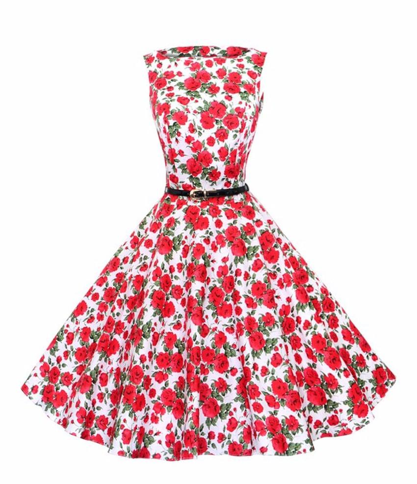 Women\'S 60s 50s Dress Elegant Vintage Rockabilly Pinup Floral Print ...