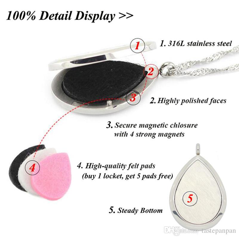 Panpan takı! toptan damla şekli parfüm madalyon 316L paslanmaz çelik difüzör madalyon kolye aromaterapi madalyon kolye