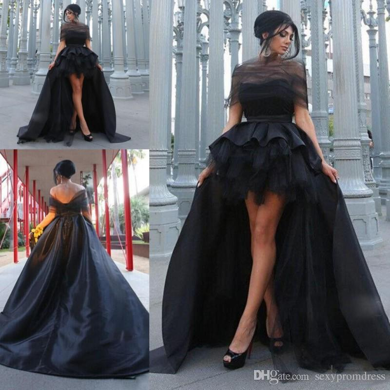 8d1c2203114d75 Charming Black High Low Evening Dresses 2017 Sexy Off Shoulder Satin And  Tulle Prom Dress Saudi Arabic Formal Party Dresses Custom Made Maxi Evening  Dresses ...