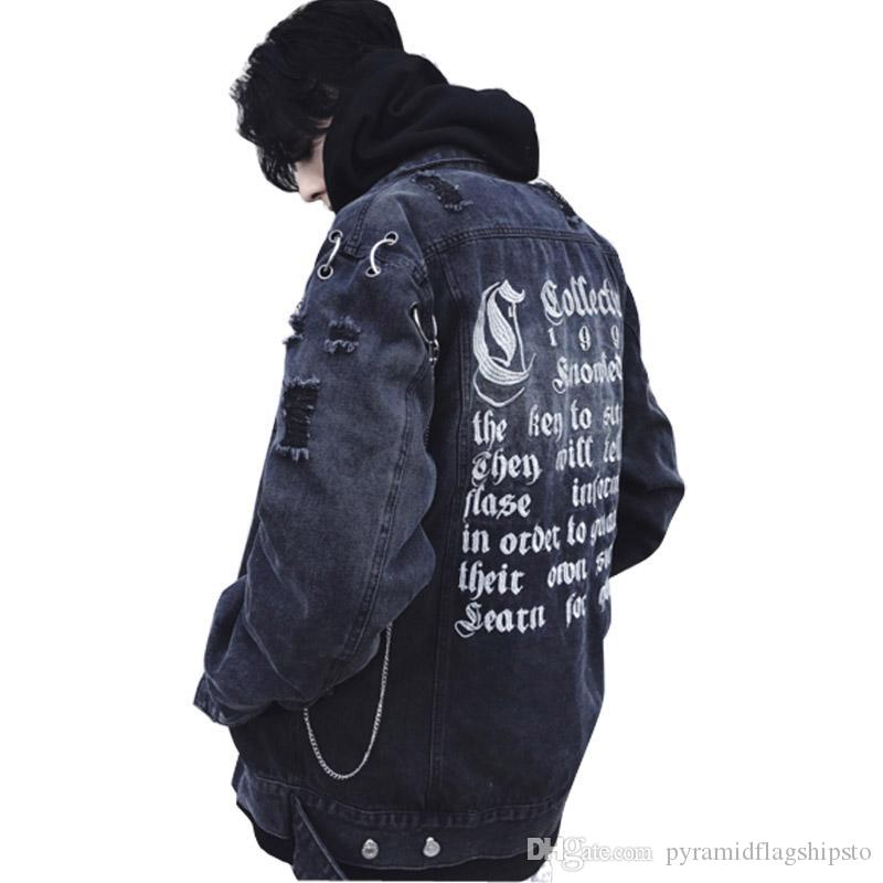 Black Blue Oversize Men Women Denim Jacket Couple Loose Jean Coat
