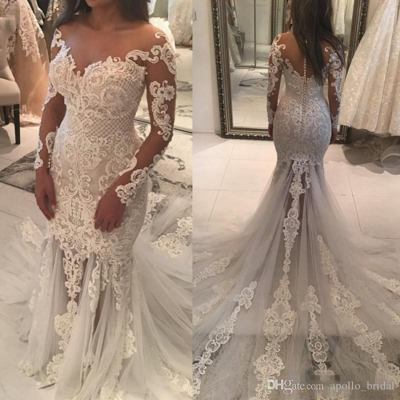 2019 Luxury Beach Wedding Dresses Mermaid Sheer Neck Long Sleeve