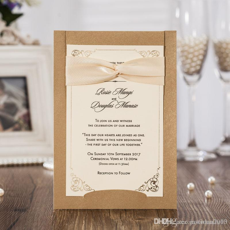 Golden Wedding Invitations Free Personalized Printing+Envelope ...